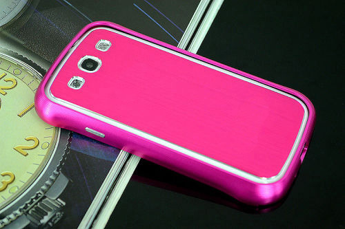 Galaxy SIII i9300 Aluminium Bumper with back cover-Rose /White