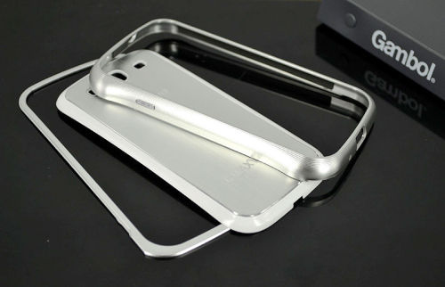 Galaxy SIII i9300 Aluminium Bumper with back cover-Silver/White