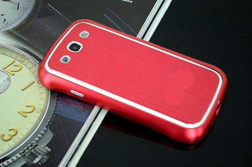 Galaxy SIII i9300 Aluminium Bumper with back cover-Red with White