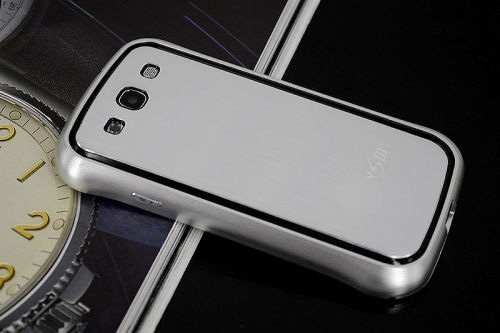 Galaxy SIII i9300 Aluminium Bumper with back cover-Silver/Black