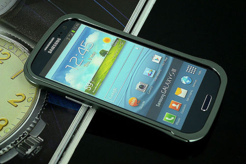 Galaxy SIII i9300 Aluminium Bumper with back cover-Grey /black