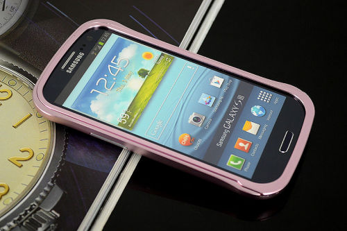 Galaxy SIII i9300 Aluminium Bumper with back cover-Pink /Black