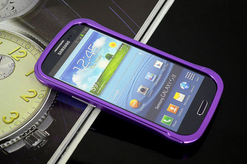 Galaxy SIII i9300 Aluminium Bumper with back cover-Purple /Black