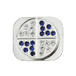 Glittering White and Blue Diamond Home Button Key for iPhone 5 - Silver