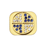 Glittering White and Blue Diamond Home Button Key for iPhone 5 - Gold