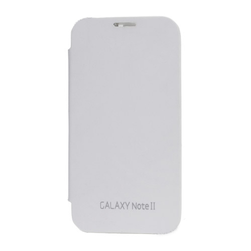 Glossy Plastic Back Case and Leather Skin Front Cover for Samsung Galaxy Note ii N7100 - Whi