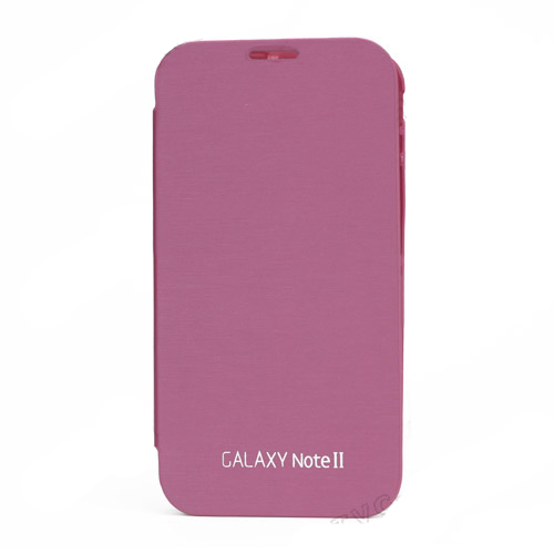Glossy Plastic for Samsung Galaxy Note ii N7100 Housing and Leather Skin Front Cover - Pink
