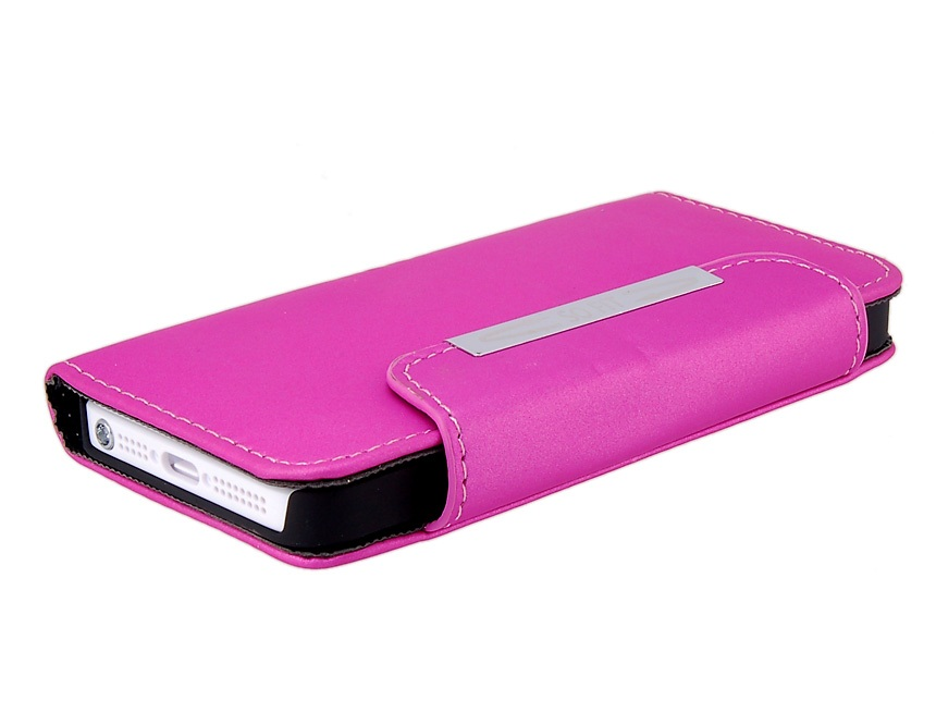 Glossy Surface Design Synthetic Leather Protective Flip Case+ Magnetic Snap for iPhone 5-Pur
