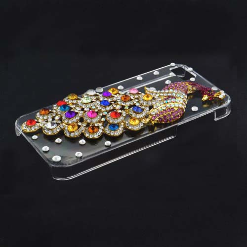 Graceful Peacock Design Rhinestone Hard Case for iPhone 5 - Colorful