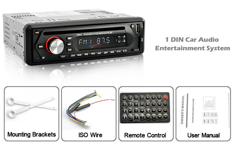 1 DIN Car Audio Entertainment System (CD/DVD/VCD/SD/USB/AUX IN, 50W x 4)