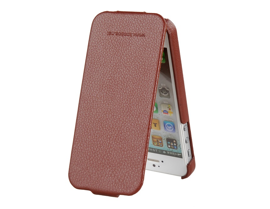 KOOBOS Lychee Groove Design Leather Protective Flip Case for iPhone 5