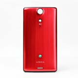LT29I Brushed Metal Battery Cover for Sony Ericsson -Red with Black Border