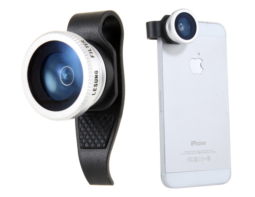 Lesung Effects Lens, External Filter Camera for iPhone 4/4S/5 Fish Eye 180° Lens -Black