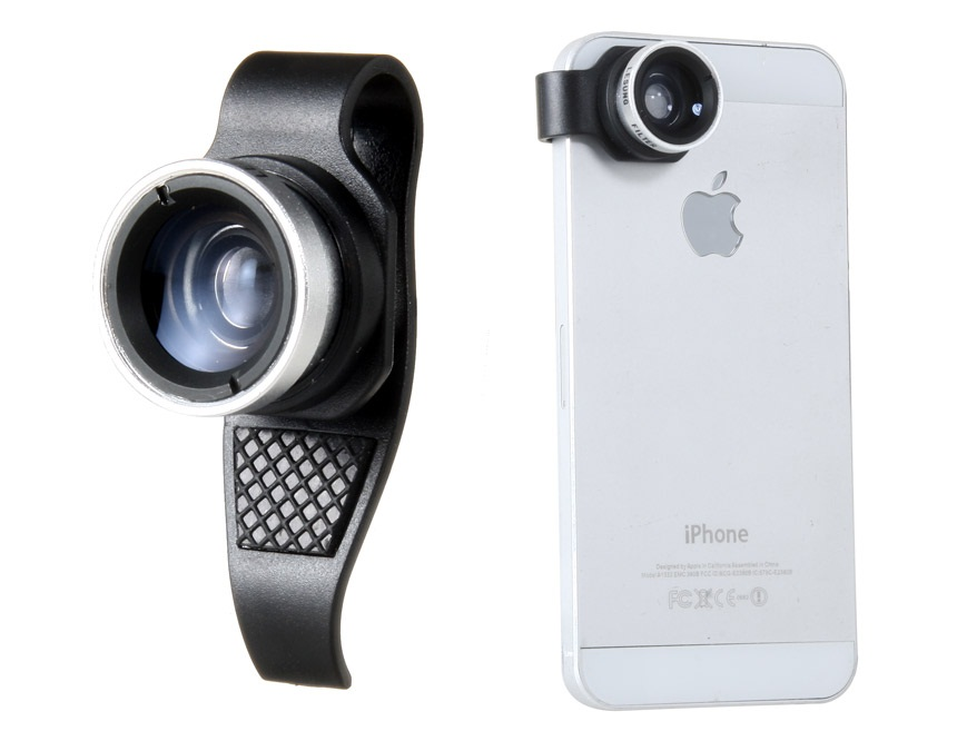 Lesung Effects Lens, External Filter Camera for iPhone 4/4S/5 Wide-Angle & Macro Lens -Black