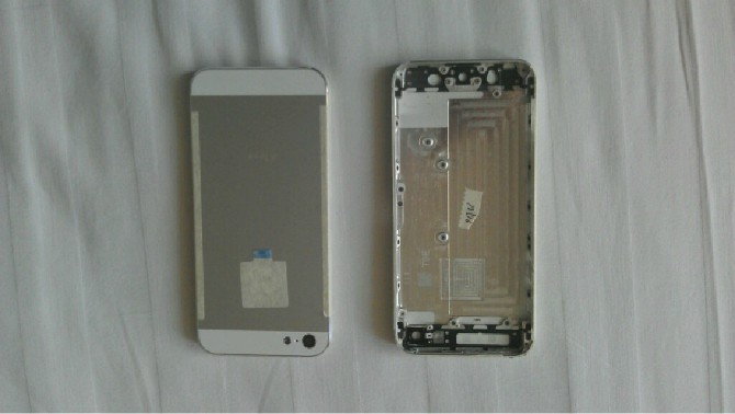 Metal for iPhone 5 Back Cover Housing with Middle Frame Bezel - White / Silver (OEM)