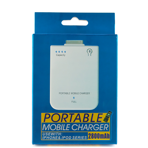 Mobile Power Bank Charger 2800mAh for iPhone 4S/4/3GS iPod - White