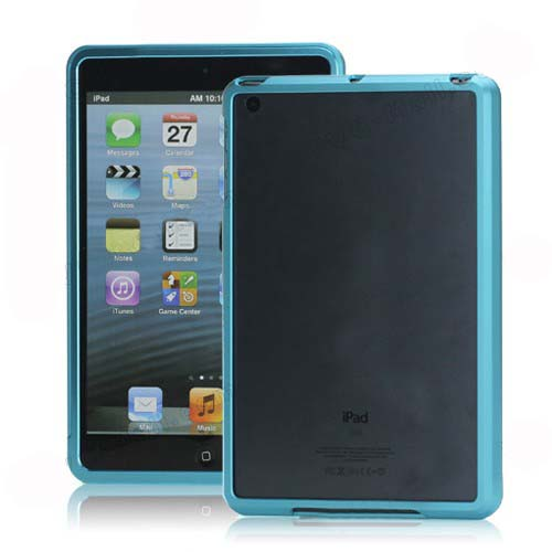 NEW Aluminum Metal Slide-On Frame Bumper Cover Case for iPad Mini - Light Blue