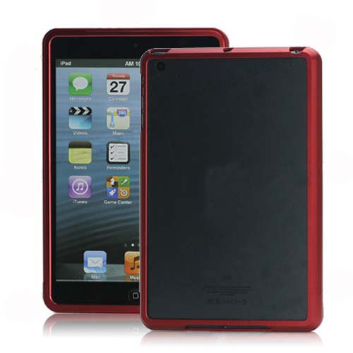 NEW Aluminum Metal Slide-On Frame Bumper Cover Case for iPad Mini - Red