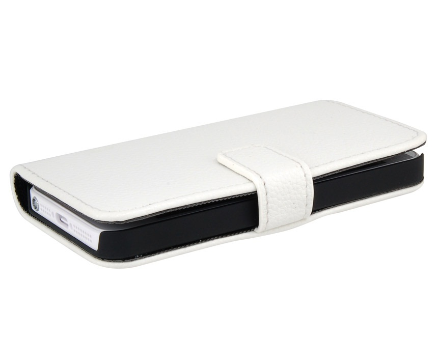 PU Leather Flip Protective Case for iPhone 5 -White