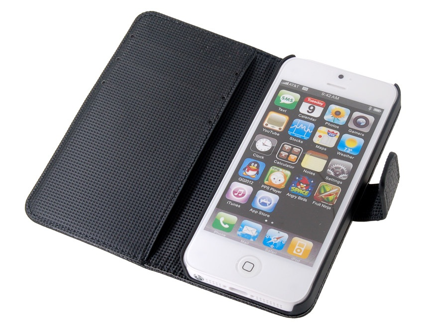 PU Leather Flip Protective Case for iPhone 5 -Black