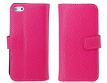 PU Leather Flip Protective Case for iPhone 5 -Rose Red