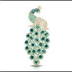 Peacock Rhinestone Diamond Metal DIY Ornament for iPhone for Samsung - Dark Turquoise