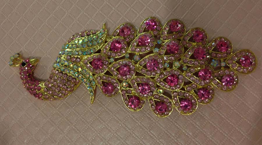 Peacock Rhinestone Diamond Metal DIY Ornament for iPhone for Samsung - Purple