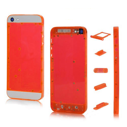 Plastic for iPhone 5 Back Cover Faceplates w/ Side Buttons SIM Card Tray - White / Translucent R