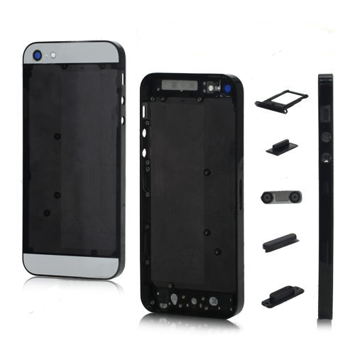 Plastic for iPhone 5 Back Cover Faceplates w/ Side Buttons SIM Card Tray - White / Translucent B