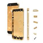 Pretty Flower Plating Full Housing Faceplates for iPhone 5 w/ Diamond Small Parts - Gold / B