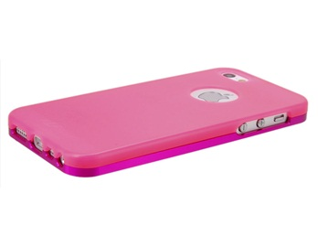 SZLF 2 in 1 Metal Frame with Matte Plastic Case for iPhone 5 -Rose