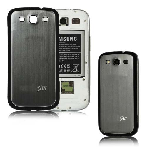 for Samsung Galaxy S3 i9300 aluminum replacement back cover-Grey/Black