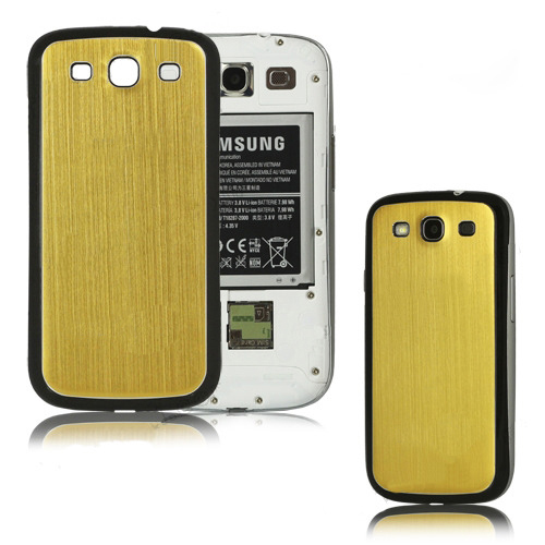 for Samsung Galaxy S3 i9300 aluminum replacement back cover-Gold/Black