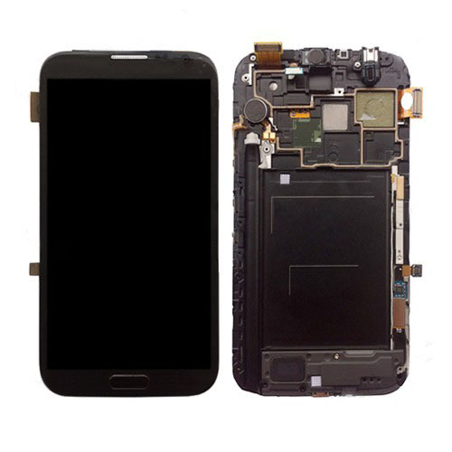 for Samsung N7100 Galaxy Note ii LCD Assembly with Touch Screen + Middle Frame - Grey (OEM)