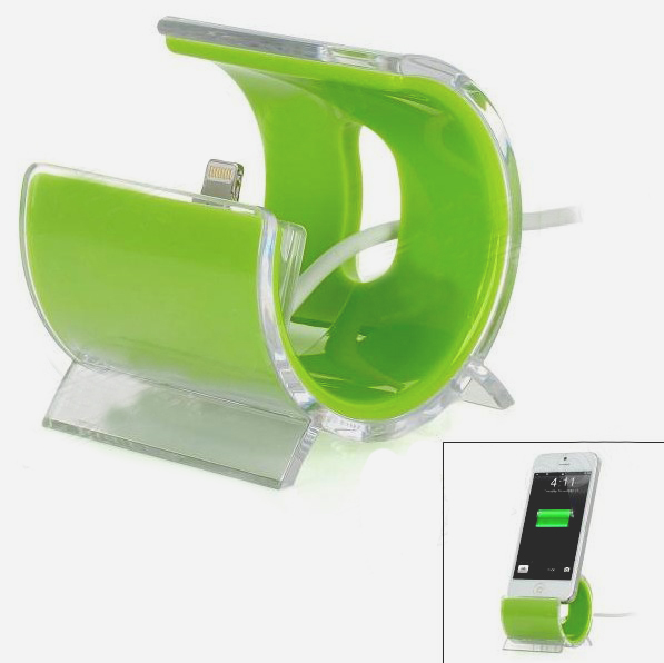 Semi-circle Lightning 8 Pin Data Sync Charger Adapter Dock for iPhone 5 - Green