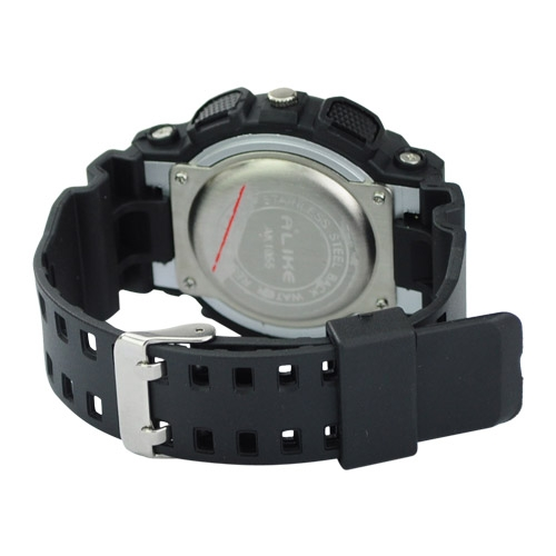 Silicone Band Round Dial Red Needle Quartz Movement Sport Watch -Black and white