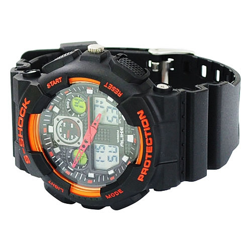 Silicone Band Round Dial Red Needle Quartz Movement Sport Watch -Black and orange