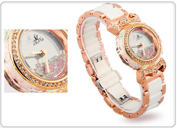 Smays White Zircon Material Crystal Mirror Surface Steel and Ceramic Watchband Fashion for Ladie