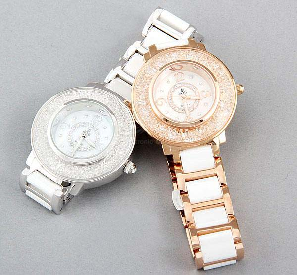 Smays Silver Zircon Material Crystal Mirror Surface Steel & Ceramic Watchband Fashio