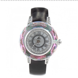 Smays Black Zircon Material Crystal Mirror Surface Genuine Leather Watchband Fashion for female