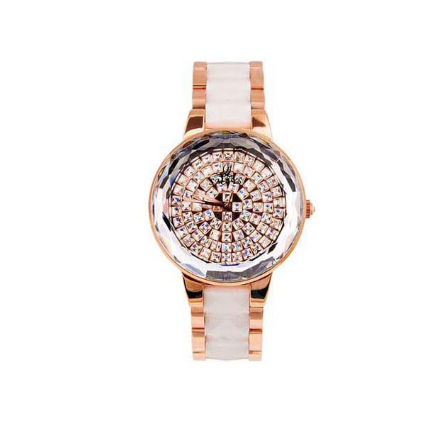 Smays White & Golden Zircon Material Crystal Mirror Surface Steel & Ceramic Watchband Watch