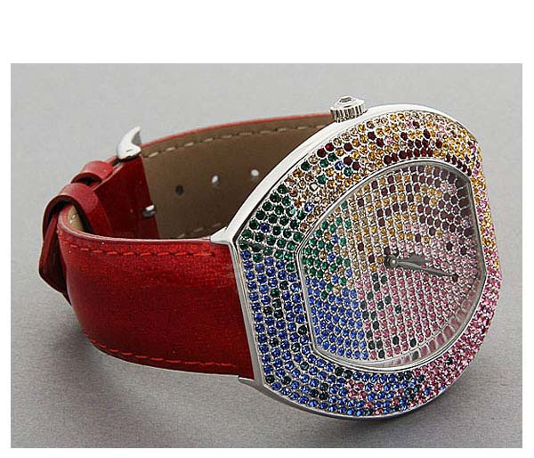 Smays Fashion Watch Zircon Material Crystal Mirror Surface Red Leather Watchband for Ladies