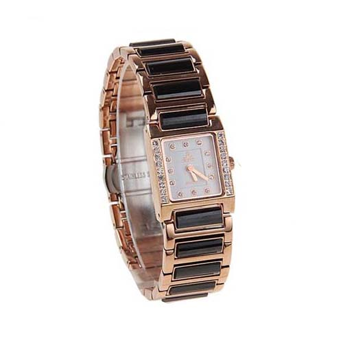 Smays Fashion Women's Watch Japan Movt Quartz Dial Black and Golden Watchband