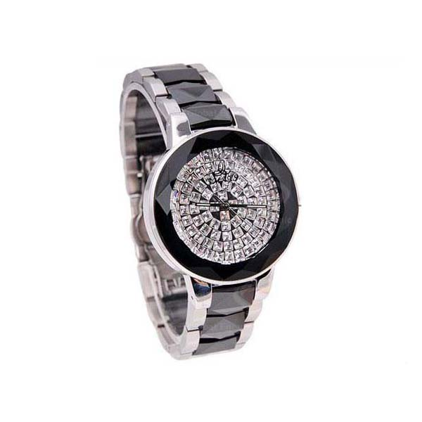 Smays Black Zircon Material Crystal Mirror Surface Steel & Ceramic Watchband Fashion Watch