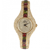 Smays Colorful Zircon Material Australia Crystal Mirror Surface Golden Copper Watchband Watch