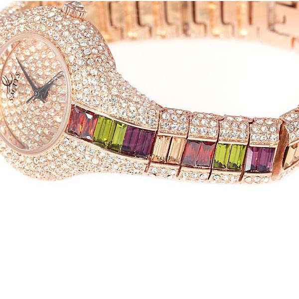 Smays Colorful Zircon Material Australia Crystal Mirror Surface Champagne Copper Watchband Watch