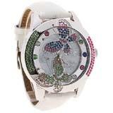 Smays Fashion Watch Butterfly Patterned Zircon Material Crystal Mirror Surface White Leather