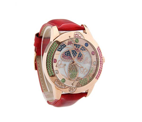 Smays Fashion Watch Butterfly Patterned Zircon Material Crystal Mirror Surface Red Leather