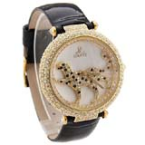 Smays Fashion Watch Leopard Patterned Zircon Material Crystal Mirror Surface Black Leather