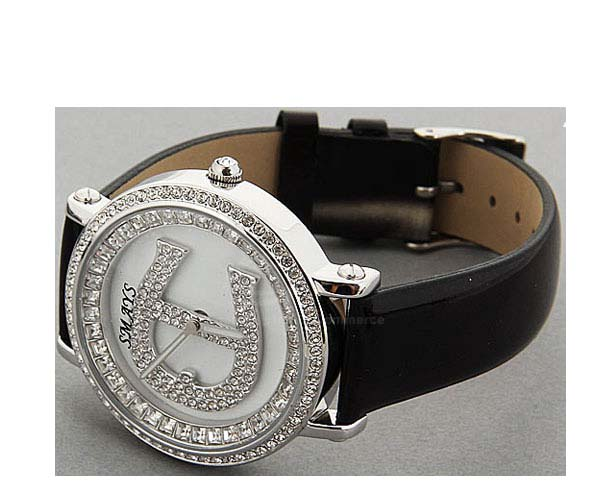 Smays Fashion Watch Zircon Material Crystal Mirror Surface Black Leather Watchband for Ladies